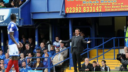 Roy Keane questions the referee during his Ipswich Town's side's 0-0 draw at Fratton Park, from nine