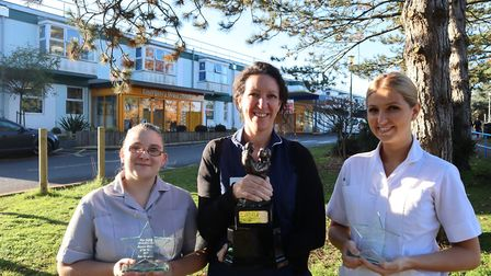 (L to R) Sam Douglass, Cathy Adkins and Katy Edgar, winners of the annual midwifery awards at the We