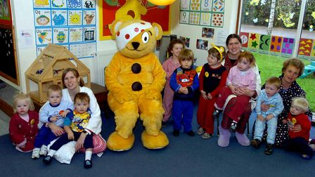 Pudsey Bear visiting the children at Presmere Nursery in Pettistree for Children in Need in 2007. P