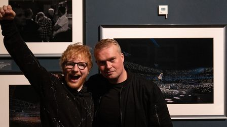 Ed Sheeran with photographer Mark Surridge at the Ed Sheeran: Made in Suffolk exhibition at Christch