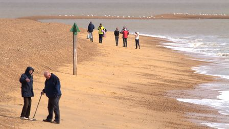 Walkers on the sea front at Felixstowe Photo: Simon Parker