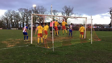 Goalmouth action as hosts Walsham-le-Willows defender a corner during a Thurlow Nunn Premier clash a