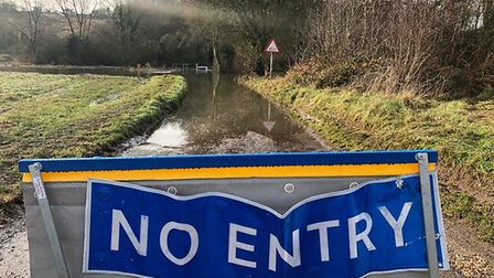 The road is closed at Rectory Lane, Whatfield, near Hadleigh, due to flooding Picture: JAKE FOXFORD