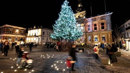 The Cornhill in Ipswich looks very festive with its traditional Christmas tree in place Picture: SAR