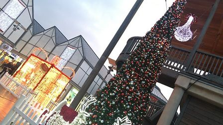 A second tree in Bury St Edmunds live in the centre of the Arc Shopping Centre, with LED presents an