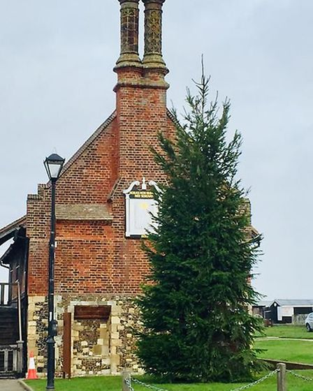 Aldeburgh's Christmas tree outside the Moot Hall Picture: GARY THOMPSON