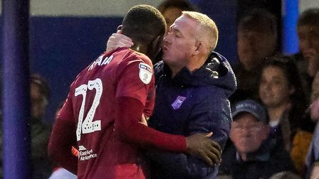 Town manager Paul Lambert has words with Toto Nsiala after substituting him at Fratton Park.Pictu