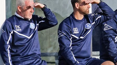 Leiston's management team of coach Tony Kinsella, left and manager Glen Driver. Photo; PAUL VOLLER