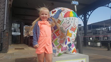 The Elmer trail in Ipswich was a big success in 2019. Sheryl Smith, six, is pictured with WelliePha