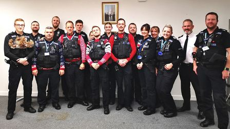 The Suffolk Constabulary team who will be keeping Ipswich safe between 7am and 5pm this Christmas Da