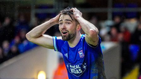 Gwion Edwards with his hands on his head as a decision went against Ipswich.Picture: Steve Walle