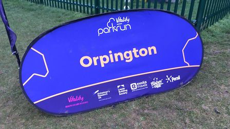 The welcome sign for the Orpington parkrun