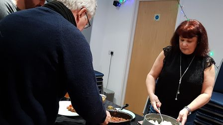 Angela serving some of the lunch out Picture: RACHEL EDGE