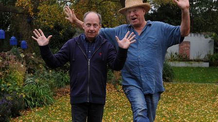 Neil Innes, right, with producer Matthew Townshend in 2011. They were working on a production being