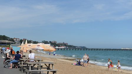 Beachgoers enjoy the sunny weather on the beach at Felixstowe Picture: ARCHANT