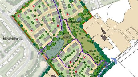 The proposed 130 home scheme on the site of a former orchard off Waldingfield Road at Chilton, near