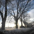 A blanket of frost covers the Suffolk countryside heading out of Ipswich towards Little Bealings - h