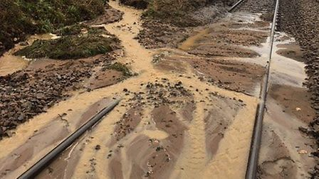 The landslip happened on the line between Woodbridge and Westerfield and Network Rail engineers are