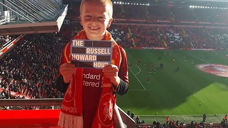 Blake Leonard and mum Libby had an emotional trip to Anfield, fulfilling a lifelong dream Picture: L