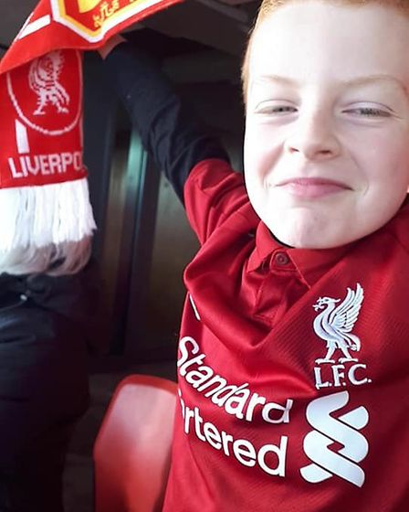 Liverpool FC supporter Blake Leonard having the time of his life after the Russell Howard Hour gave
