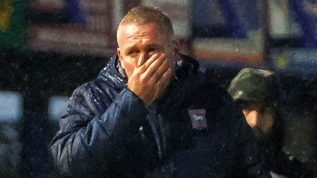 Town manager Paul Lambert pictured in the rain at Fratton Park.Picture: Steve Waller www.stephe
