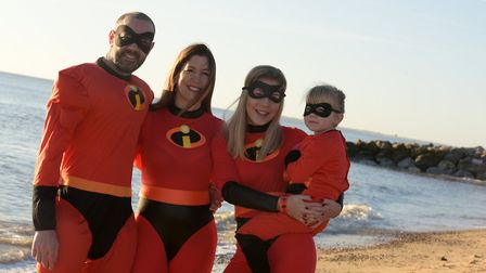 Chris and Catrina Reeve, Katie Price and Lucy Springate as the Incredibles Picture: SARAH LUCY BRO