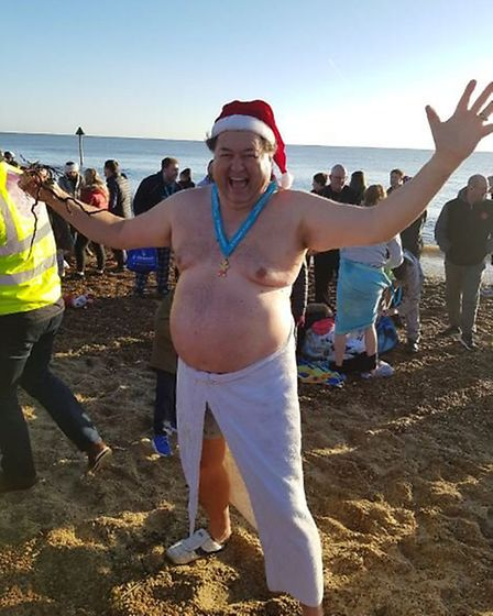 Melvin Mayes took part in the Felixstowe Christmas Day dip for the first time. Picture: ANDY WARREN
