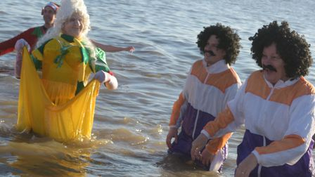 Hundreds of people took the plunge for the annual St Elizabeth Hospice Christmas Day dip Picture: S