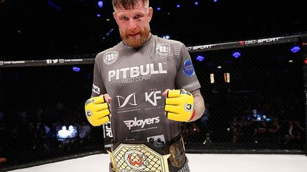 Colchester's Cage Warriors world middleweight champion James Webb after his controversial draw with