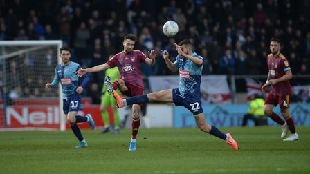 Gwion Edwards is fouled at Wycombe Wanderers Picture Pagepix
