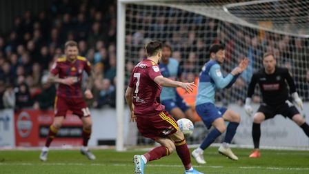 A first half chance falls to Gwion Edwards at Wycombe Wanderers Picture Pagepix