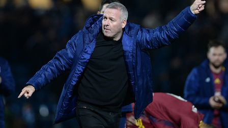 Follow me?: Paul Lambert signals to the travelling support at Wycombe Wanderers. Picture Pagepix
