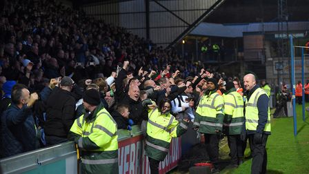 Town fans celebrate James Norwood scoring at Wycombe Wanderers Picture Pagepix