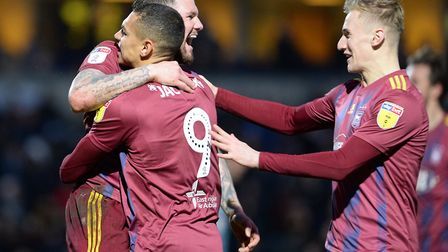James Norwood celebrates scoring at Wycombe Wanderers Picture Pagepix