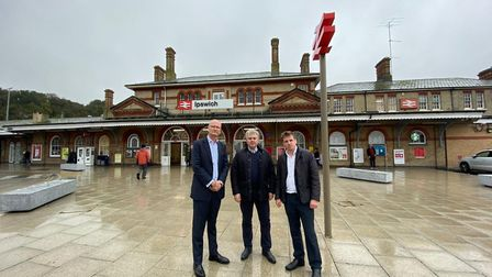 Matthew Hicks, Brandon Lewis and Tom Hunt at Ipswich station. MP Tom Hunt has demanded a top-level m