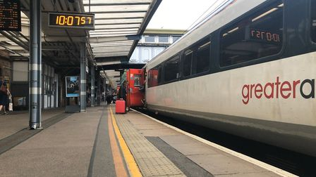 Ipswich Station platform and Greater Anglia mainline train - people have questioned why fares have r