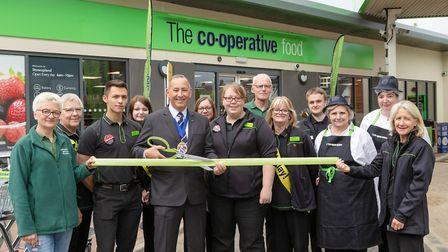 From left, Central England Co-op colleagues with store manager Anna Alfredson and Vice Chairman of M