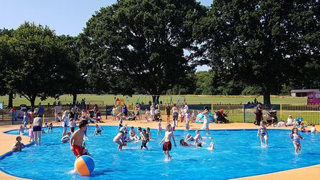 The paddling pool at Bourne Park in Ipswich during the late July heatwave Picture: RACHEL EDGE