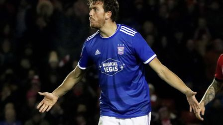 Emyr Huws reacts to a decision from the referee during Ipswich Town's 1-0 win over Lincoln City in t