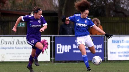 Abbie Lafayette in action for Town Women during their 1-0 FA Cup win over Portsmouth Photo: ROSS HAL