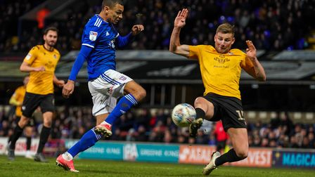 Kayden Jackson is just beaten to the ball by Bristol Rovers Alfie Kilgour.Picture: Steve Waller