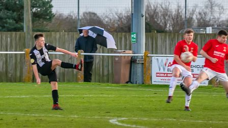 Tom Haste scores his first senior goal to double Woodbridge Town's lead, during the 3-1 win over Swa