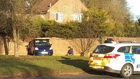 A car crashed into a wall in Melton. Picture: JOHN SANKEY