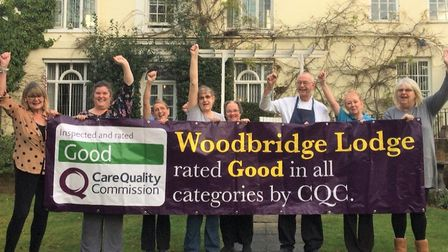 """Staff at Woodbridge Lodge Care Home are delighted to achieve their """"good"""" rating after a CQC inspect"""