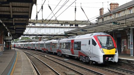 One of the new Stadler Intercity trains on a test run at Ipswich station. There is still no timetabl
