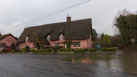 Thornham Magna has had alot of flooding near the Four Horseshoes Pub. Taken earlier this week Pictu