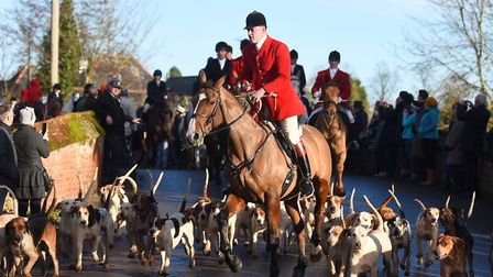 A lead rider kicks off Hadleigh's annual Boxing Day hunt. Picture: GREGG BROWN