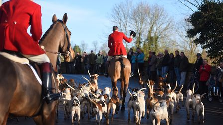 Riders head into Hadleigh before taking to the fields in the Boxing Day hunt. Picture: GREGG BROWN