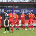 Needham celebrate their goal against St Ives. Picture: BEN POOLEY