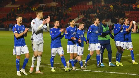 The Ipswich team celebrate the FA Cup win at Lincoln Picture Pagepix